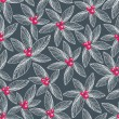 Floral seamless pattern on dark background. - Stock Vector