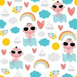 Cute baby boy on vacation seamless pattern. — Stock Vector