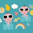 Cool baby on vacation. — Stock Vector