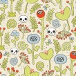 Skulls and flowers seamless background. - Stok Vektr