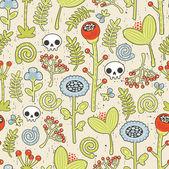Teschi e fiori sfondo senza soluzione di continuità. — Vettoriale Stock
