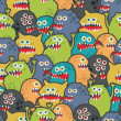 Cute monsters seamless texture. - Stock Vector