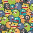 Cute monsters seamless texture. — Stock Vector