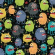 Cute monsters seamless texture with stars. - Stock Vector