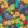 Cute monsters seamless pattern. — Vector de stock #11896475