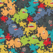 Cute monsters seamless pattern. — Vector de stock