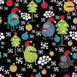 Royalty-Free Stock Imagen vectorial: Cute monsters and Christmas seamless pattern.