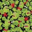 Cute monsters in the grass seamless pattern. — Stock Vector