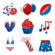 July 4th Party Icons — Stock Vector