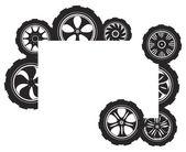 Black silhouette: automotive wheel — Stok Vektör