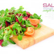 Stock Photo: Fresh mixed salad with tomatoes on a wooden board