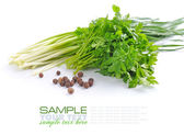 Fresh green parsley and spring onions with grains of pepper on white background — Stock Photo