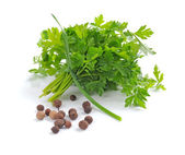 Bunch of fresh green parsley with grains of pepper on white background — Stock Photo