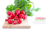 Fresh radish on a wooden board isolated on white background — Stock Photo