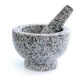 Stone mortar and pestle on white background — Stock Photo
