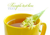 Flowers of linden tree on a cup with tea — Stock Photo