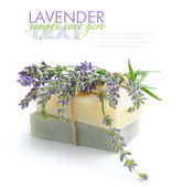 Handmade soap and lavender flowers on a white background — Stock Photo
