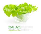 Frischer grüner salat in eine glasschale auf weißem hintergrund — Stockfoto