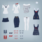Female navy set of clothes — Stock Vector