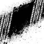 Traccia pneumatico bianco su macchie di inchiostro nero — Vettoriale Stock