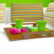 Colorful pillows and coffee on the sofa. - Lizenzfreies Foto