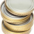 Tin lids for canning — Stockfoto
