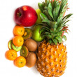 Fresh fruit on a white background — Stock Photo