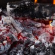 Coal and wood ash from burning in an oven — Stock Photo