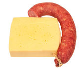 Sausage and cheese on white background — Stock Photo