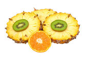 Fresh fruit mix on a white background — Stock Photo