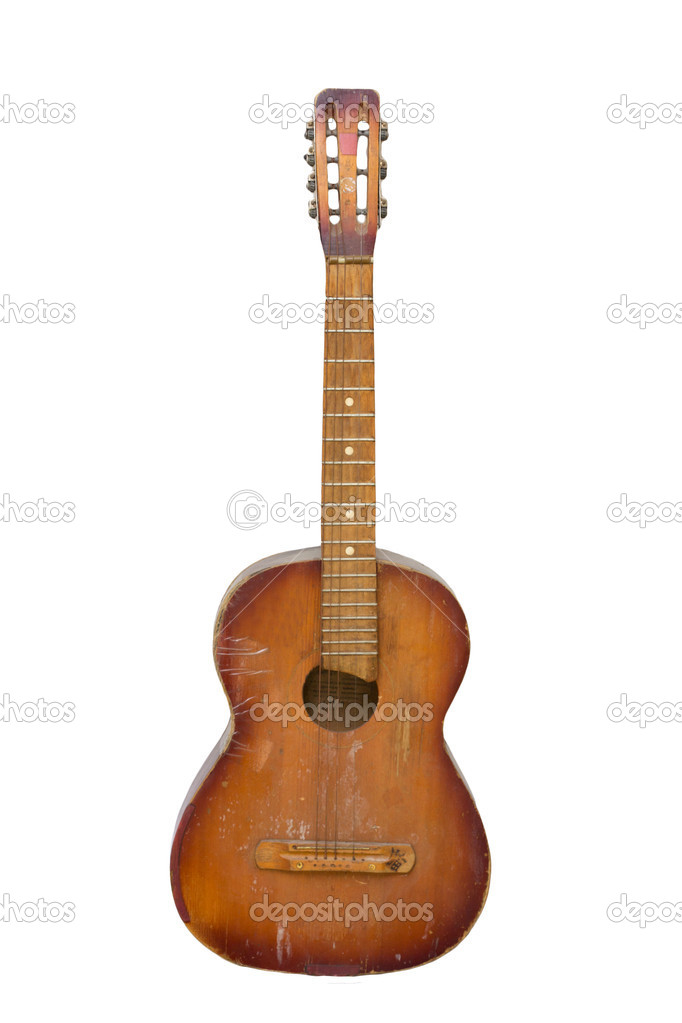 An old guitar on white background — Stock Photo #11837266