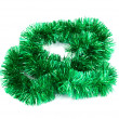 Green Christmas tinsel garland — Stock Photo
