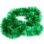 Green Christmas tinsel garland — Stock Photo