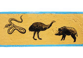 Figure snake, ostrich, wild boar — Stock Photo