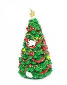 Image du sapin de noël décoré avec ba jouet rouge et or — Photo