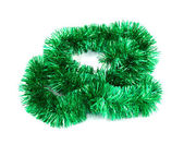 Green Christmas tinsel garland — Photo