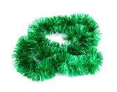 Yeşil noel tinsel çelenk — Stok fotoğraf