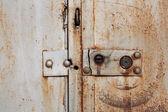 Old padlock on garage collars — Foto Stock