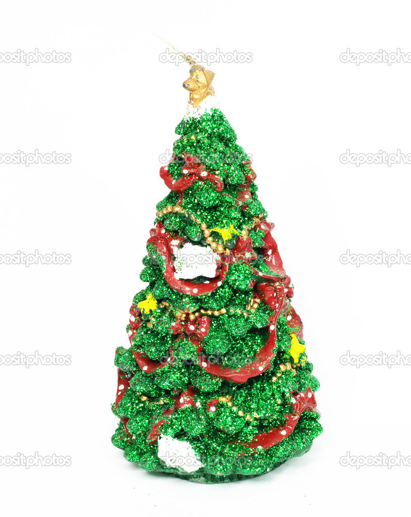 Image of Christmas fir tree decorated with red and golden toy balls — Stock Photo #11927694