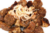 Pork kebab on white — 图库照片