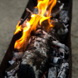 Fire, burning coal on a barbecue - Stock Photo