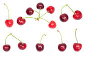 Collection of fresh cherries on white background — Stock Photo