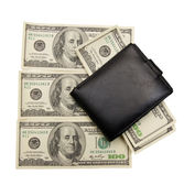 Dollars and the pocketbook — Stock Photo