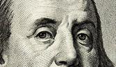 Sto dolara, oko franklin tło, tekstury — Zdjęcie stockowe