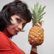 Girl with Pineapple - Stock Photo