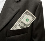 Dollars in the pocket of a jacket — Stock Photo