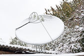 Satellite antenna snow-covered — Stock Photo