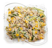 Salad . cucumbers with mushrooms and corn — Stock Photo