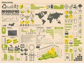 Conjunto de gráficos de información verde — Vector de stock