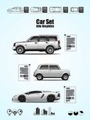 Car set, vector elements, info graphics — Stock Vector